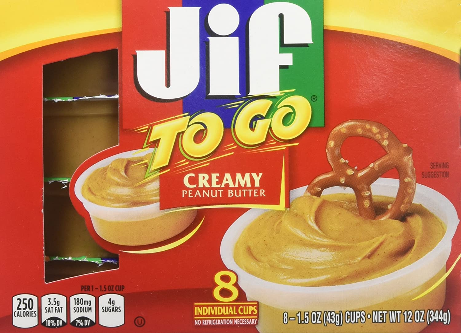JIF 24136 Jif To Go Snack Cups, 1.5 Oz, Pack of 8, Peanut Butter
