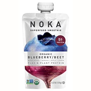 NOKA Superfood Smoothie Pouches (Blueberry Beet) 12 Pack | 100% Organic Healthy Fruit And Veggie Squeeze Snack Packs | Meal Replacement | Non GMO, Gluten Free, Vegan, 5g Plant Protein | 4.2oz Each