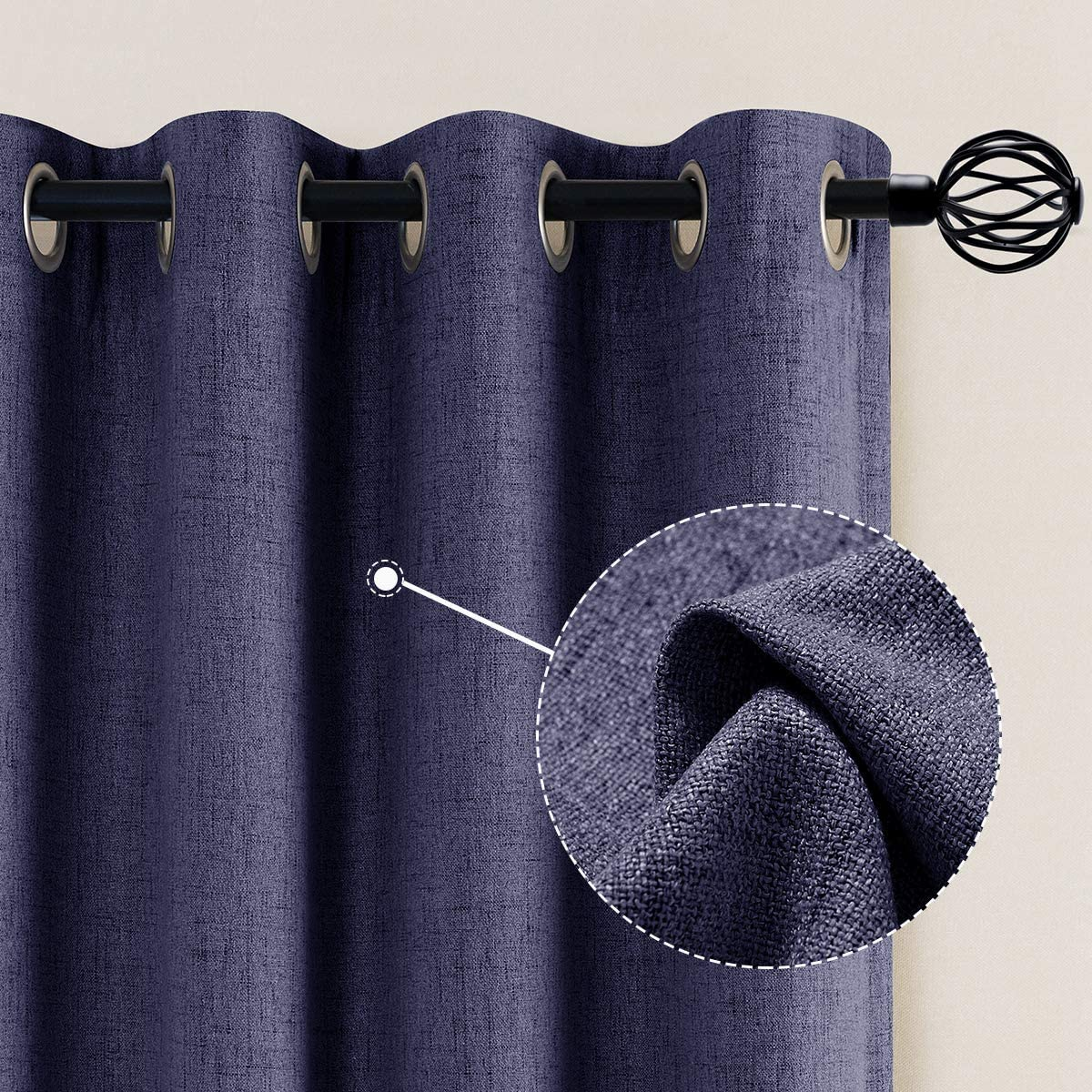 Vangao Linen Blackout Curtains 84 Inches Long Linen Textured Drapes Room Darkening for Living Room Bedroom Window Treatment 2 Panels, Grommet Top, Blue