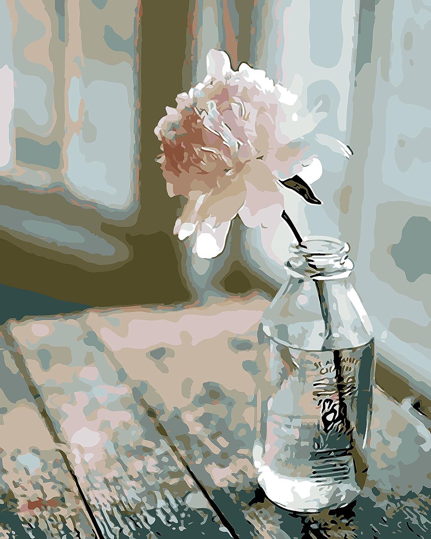 Paint by Numbers, DIY Pittura ad olio Fiore Sulla Sedia Stampa su tela arte Muraria Decorazioni per la casa senza Cornice di Rihe