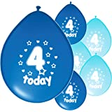 10 X 4th BIRTHDAY BOY GIRL PINK BLUE PARTY BALLOONS PA
