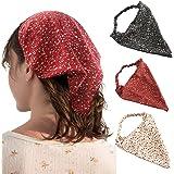 HAIMEIKANG 3 Pieces Floral Elastic Hair Scarf Headband Chiffon Head Kerchief Hairband Head Scarf Hair Bandanas with Hair Clip