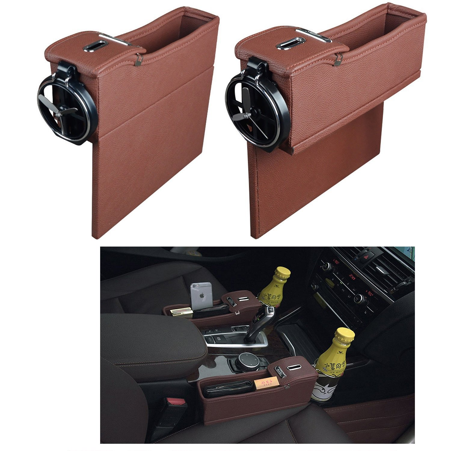 NEW POWER Premium PU Leather Side Pocket Organizer Car Seat Filler Gap Space Storage Box Bottle Cup Holder Coin Collector Car Interior Accessories 2PCS(Brown)