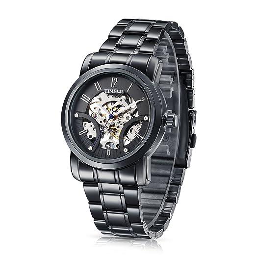 Time100 Reloj mecanico moderno automático para hombre correa de acero inoxidable esqueleto reloj mecánico: Time100 Watch: Amazon.es: Relojes