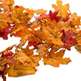 6 Ft Fall Colors Autumn Maple Leaves Chain Garland, Orange and Red