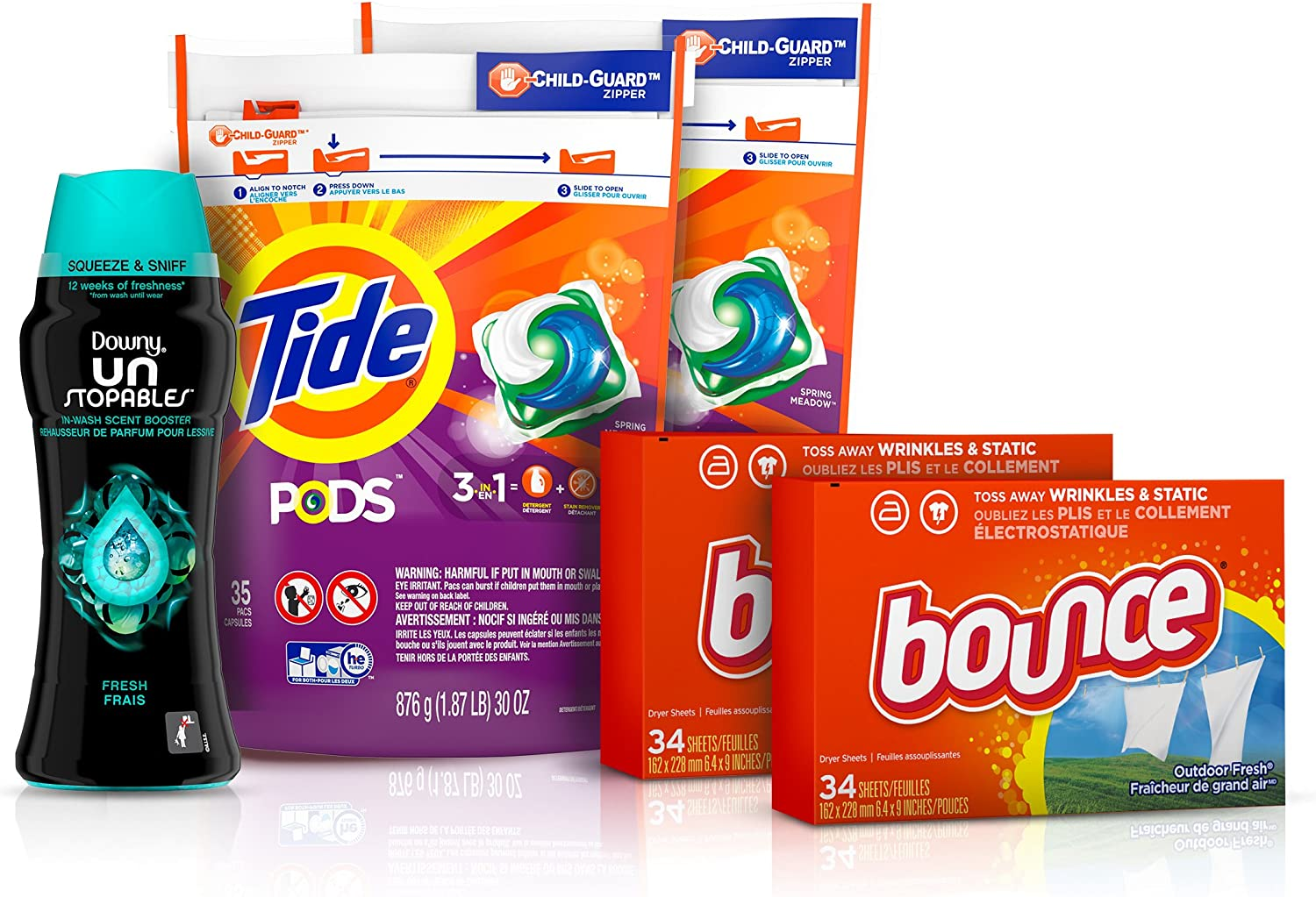 Tide Pods Laundry Detergent Pacs (2x35ct), Downy Unstopable Scent Beads (14.8 oz) and Bounce Dryer Sheets (2x34ct), Better Together Bundle: Health & Personal Care