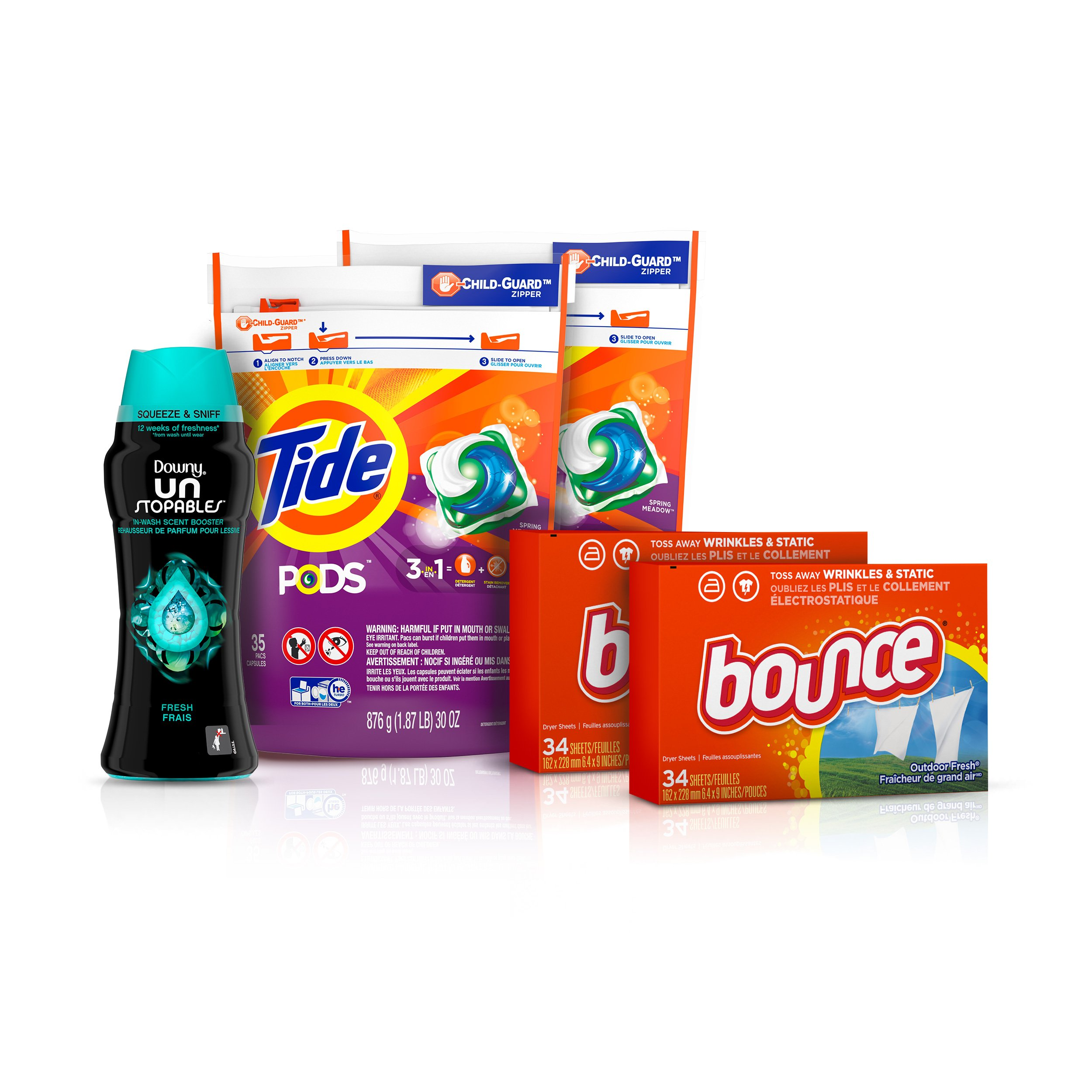 Tide Pods Laundry Detergent Pacs (2x35ct), Downy Unstopable Scent Beads (14.8 oz) and Bounce Dryer Sheets (2x34ct), Better Together Bundle by Tide