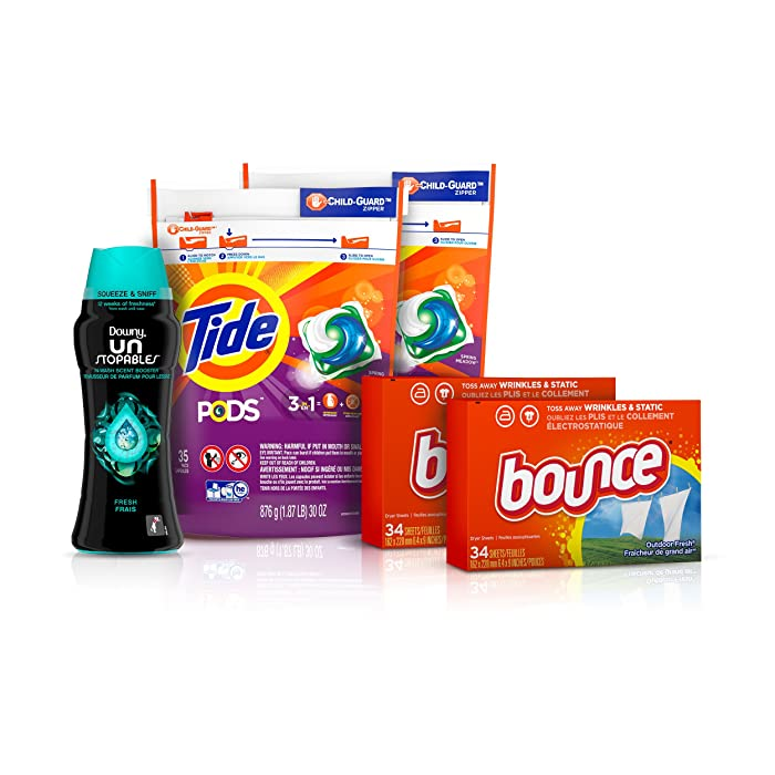Tide Pods Laundry Detergent Pacs (2x35ct), Downy Unstopable Scent Beads (14.8 oz) and Bounce Dryer Sheets (2x34ct), Better Together Bundle