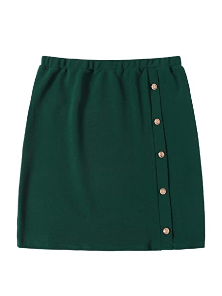 60622b6444d2 SheIn Women's Plus Size Button Front Stretchy Textured Detail Bodycon Short Pencil  Skirt Green at Amazon Women's Clothing store: