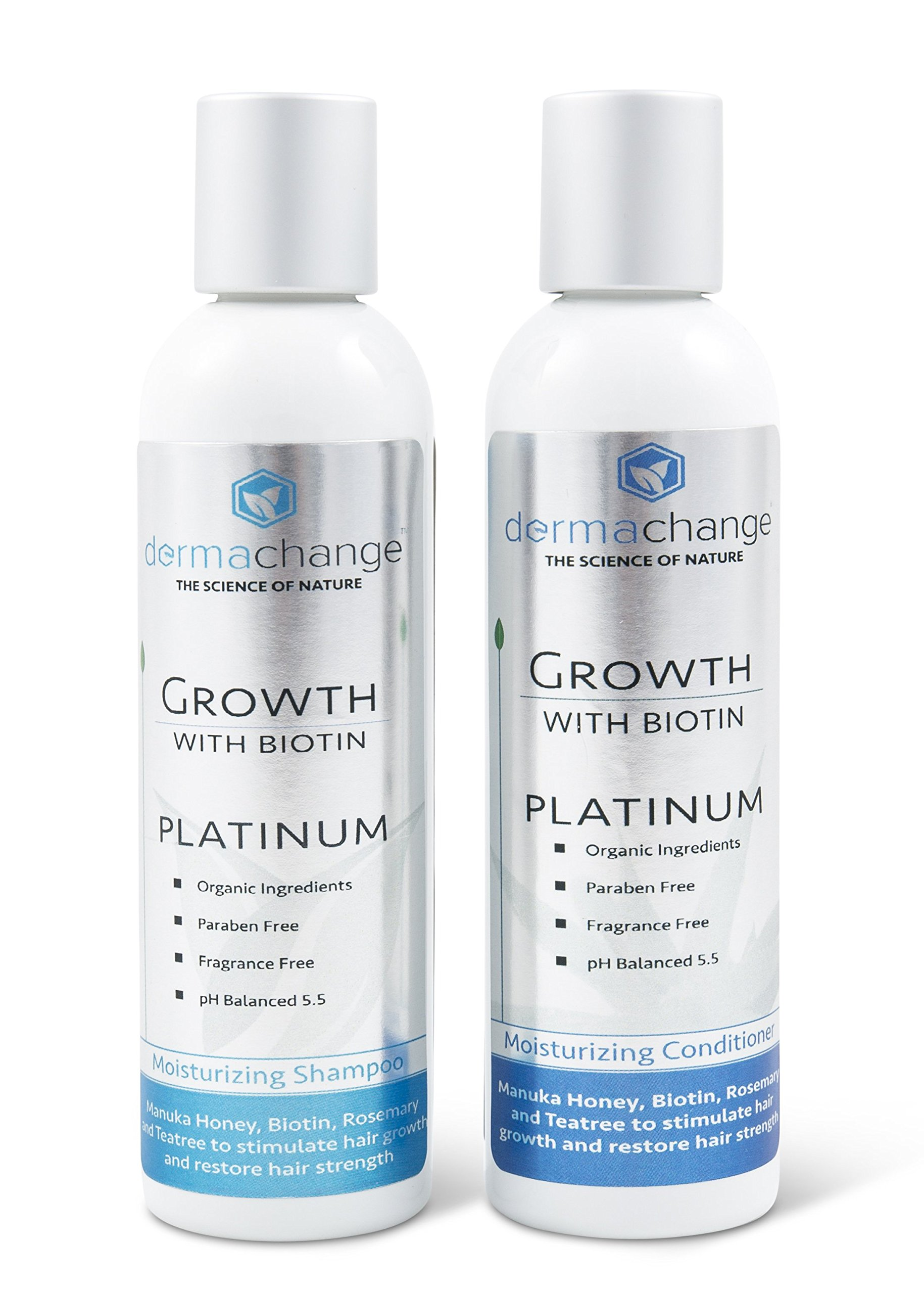 Hair Growth Organic Shampoo & Conditioner Set - With Biotin and Argan Oil - Supports Regrowth & Prevents Hair Loss - For Dry Damaged & Color-Treated Hair - Sulfate & Paraben Free (4 oz) - Made in USA by DermaChange