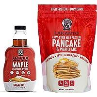 Lakanto Maple Flavored Sugar-Free Syrup (13 oz) and Gluten-Free Pancake Mix (1 Pound) Bundle