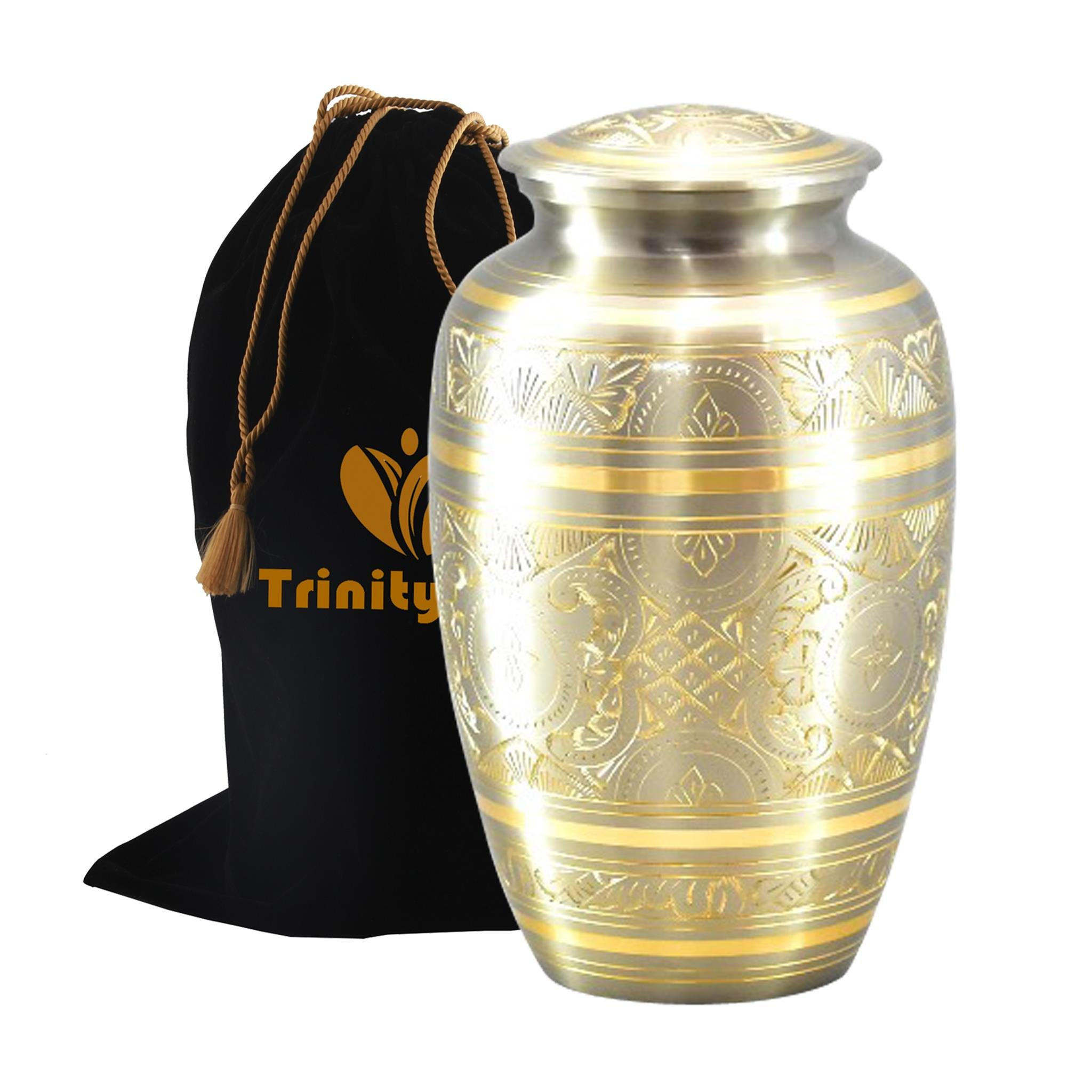 Platinum Gold Brass Cremation Urn - Beautifully Handcrafted Adult Funeral Urn - Solid Brass Funeral Urn - Affordable Urn for Human Ashes with Free Velvet Bag