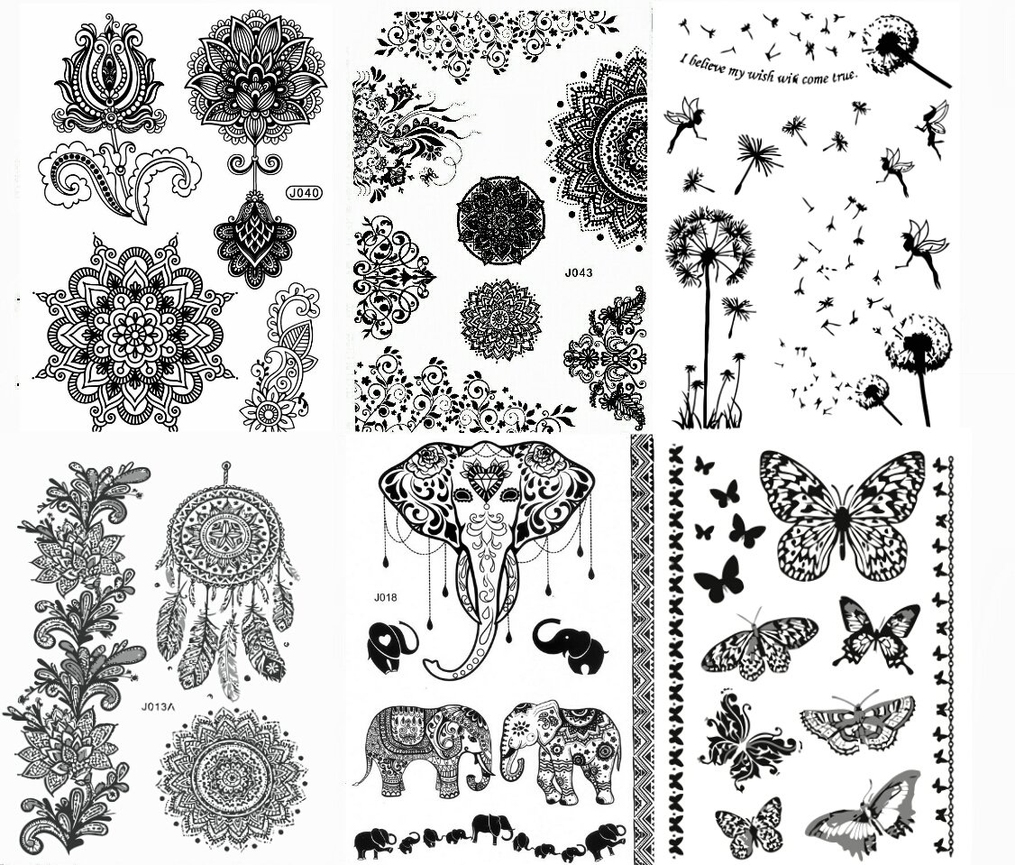 Black Henna Body Paints Temporary Tattoo Designs (Pack of 6 Sheets) by Gilded Girl