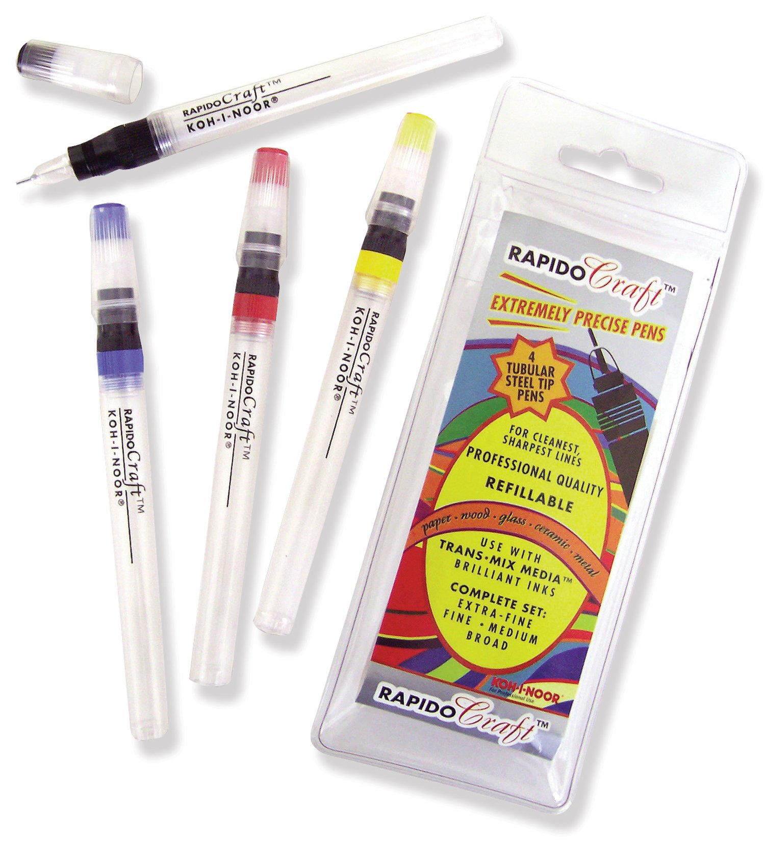 Koh-I-Noor RapidoCraft 4-Pen Set, Extra-Fine, Fine, Medium and Broad Points, 1 Set (3065.SET) by Koh-I-Noor