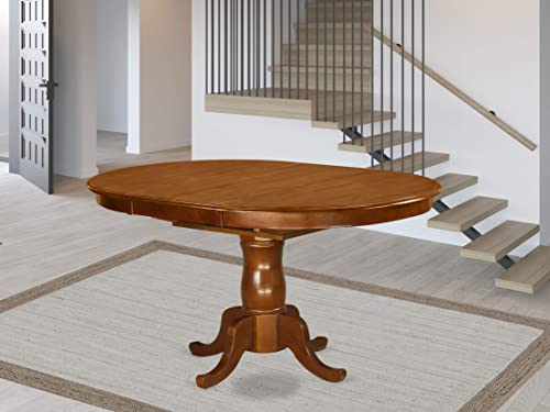 POT-SBR-TP Oval Dining Table with 18 extension butterfly leaf in Saddle Brown