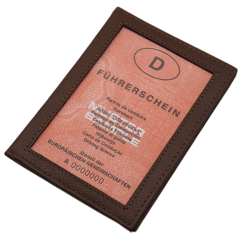 Echt Leder Ausweisetui mit 2 Fächern in Kalb- oder Büffelleder MJ-Design-Germany in verschiedenen Farben (Büffel Braun)
