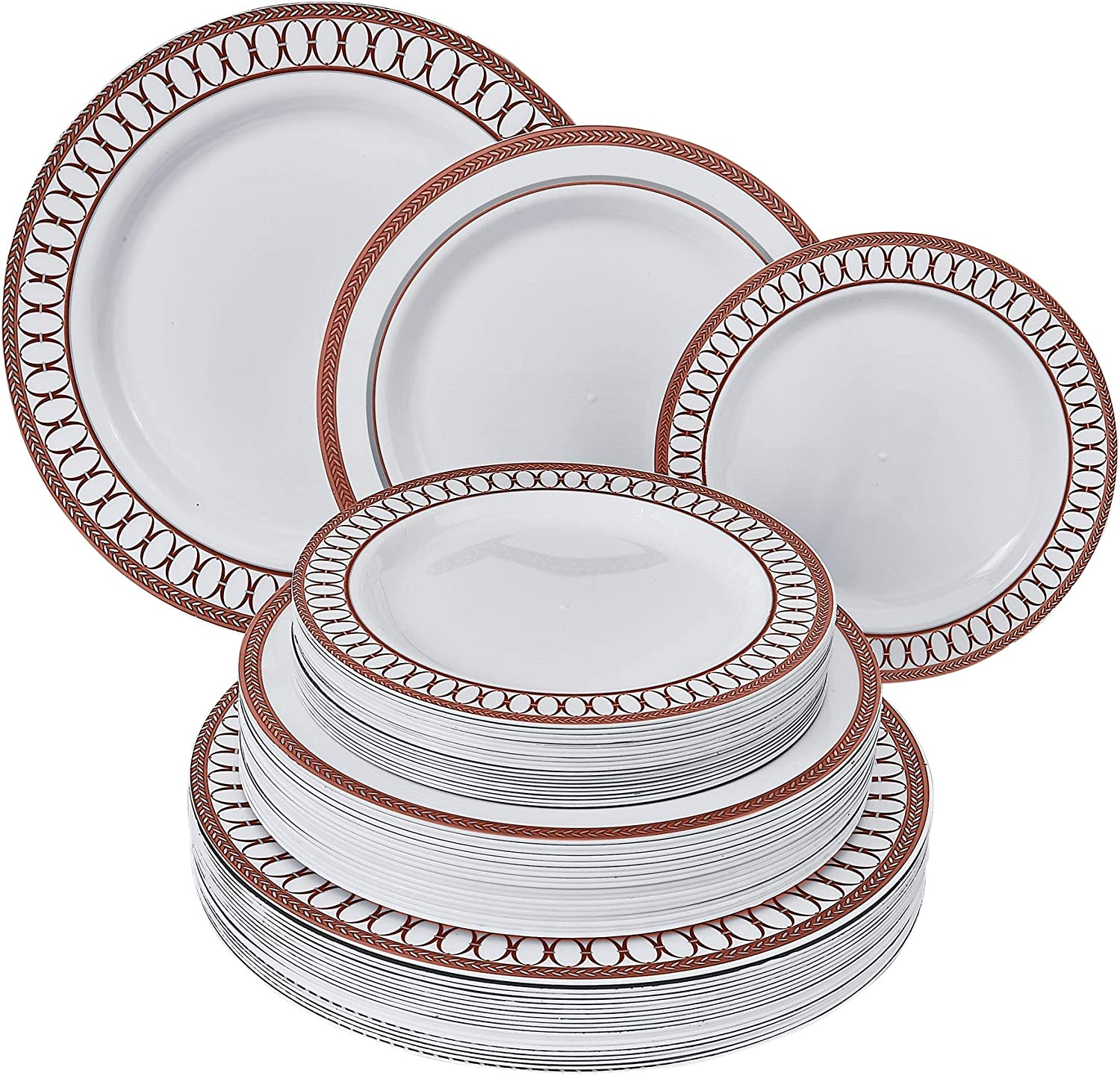DISPOSABLE DINNERWARE SET | Heavy Duty Plastic Dishes for Christmas Holiday | Includes: 80 Dinner Plates, 80 Salad Plates and 80 Dessert Plates | Renaissance Collection – Red