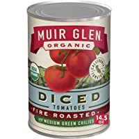 Muir Glen Canned Tomatoes, Organic Diced Tomatoes, Fire Roasted with Medium Green Chilies, No Sugar Added, 14.5 Ounce…