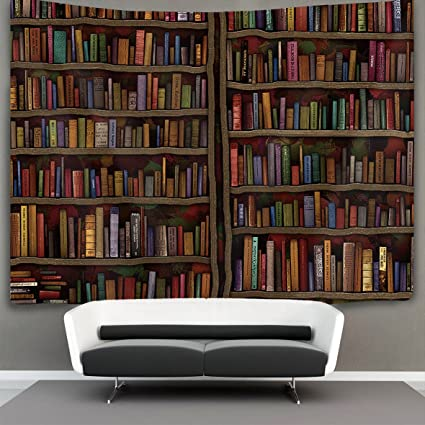 US TANG Vintage Library Bookshelf Bookcase Wall Tapestry Hippie Art Hanging Home Decor Extra