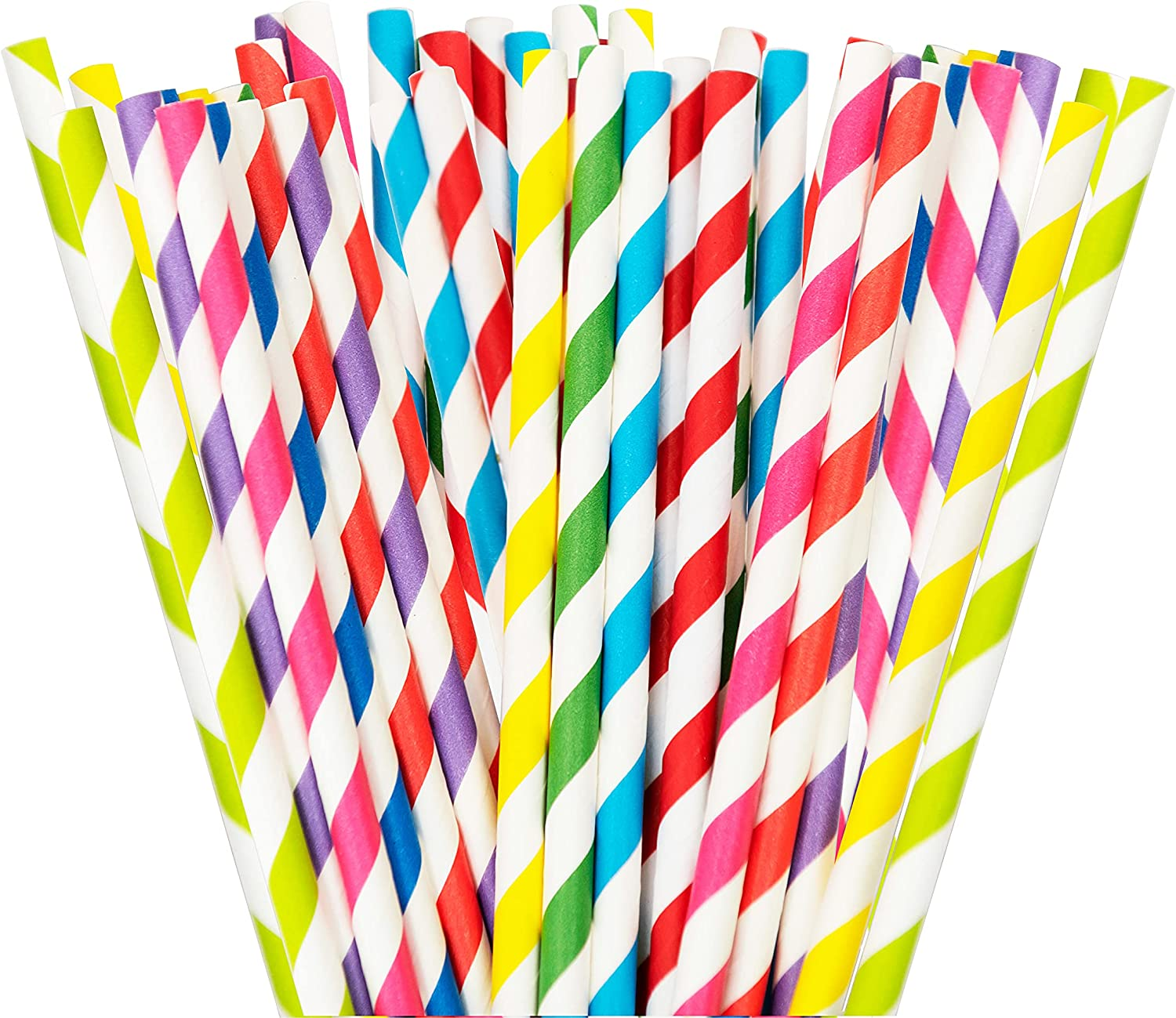 Single-Use Disposable Paper Straws - For Cold Drinks, Fits Most Beverage Cups and Containers, Restaurant Supplies for Fast Food, Takeout, To-Go, Delivery and Party Supplies, 100 Count, Assorted Colors