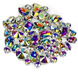 DONGZHOU Crystal AB Fancy Stone with Setting Sew On Rhinestones with Silver Claw Sewing Crystals Glass Crystal Stone gems for