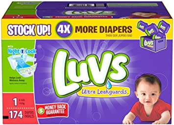 Amazon.com: Luvs Ultra Leakguards Diapers-Size 1-174 Count: Health ...
