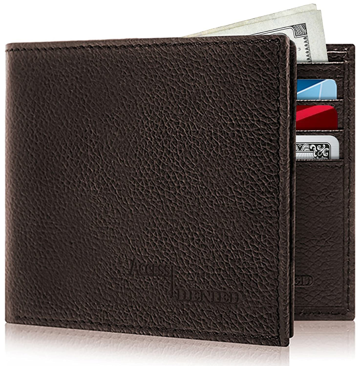 Slim Bifold Leather Wallets For Men - Front Pocket Mens Card Wallet Flip Up ID Window RFID With Gift Box For Him 1301-BLK-CROCO