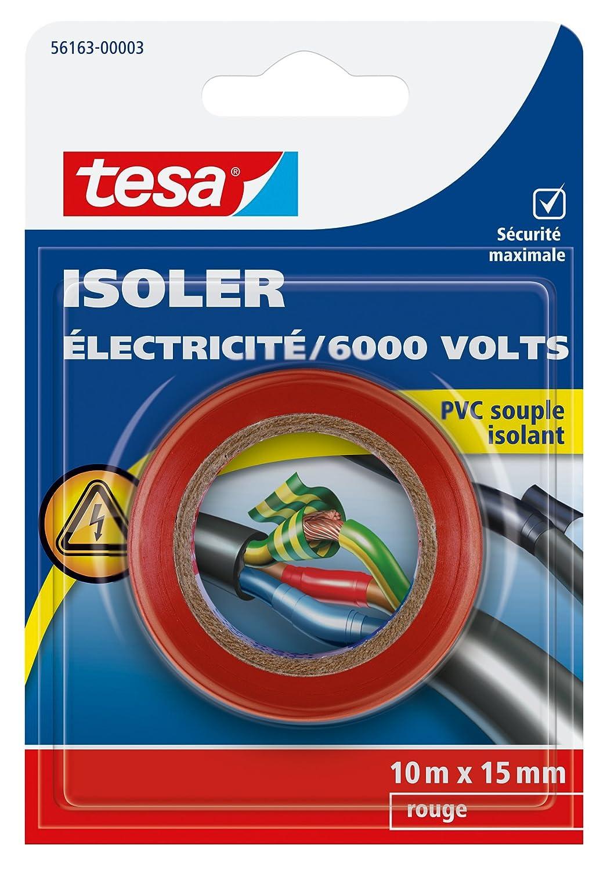 Tesa 56163-00003-00 Isoler Electricit/é 6000 Volts PVC Souple Isolant 10 m x 15 mm