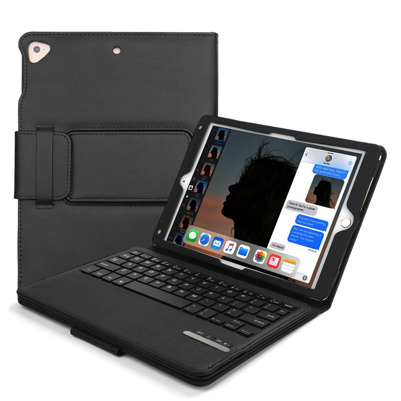 iPad Keyboard Case 9.7, Wireless Bluetooth Keyboard Cases with Multi-Angle Stand Groove & Auto Wake/Sleep Pencil Slot for New ipad 9.7 2018 iPad Pro 2017/Apple iPad Air 1/Air 2 (2017 iPad-Black)