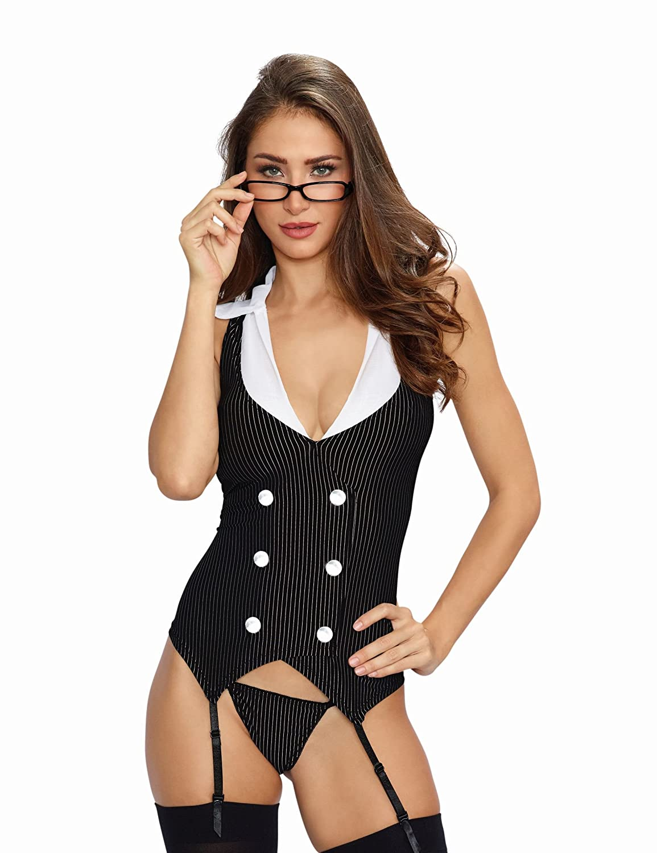 Dreamgirl Women's Queen Size Working Late Vest Style Garter Slip Black/White One Size Dreamgirl International 8014x