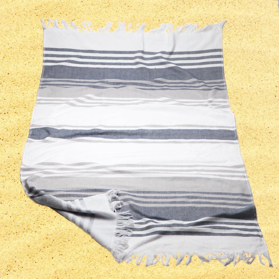 Burrito Blanco Pareo Per Spiaggia//Asciugamano Pareo 181 Cotone 90/% Poliestere 10/% con Dorso Di Arricciatura 90x165 cm con Strisce a Motivo Sfrangiato Bianco e Grigio