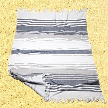 Burrito Blanco Pareo para playa/Toalla pareo 181 Algodón 90% Poliéster 10% con Reverso de Rizo 90x165 cm con Flecos Estampado de Rayas, Blanco y Gris: ...
