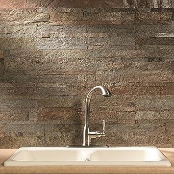 Aspect Peel And Stick Stone Overlay Kitchen Backsplash Tarnished Quartz 5 9 Quot X 23 6 Quot