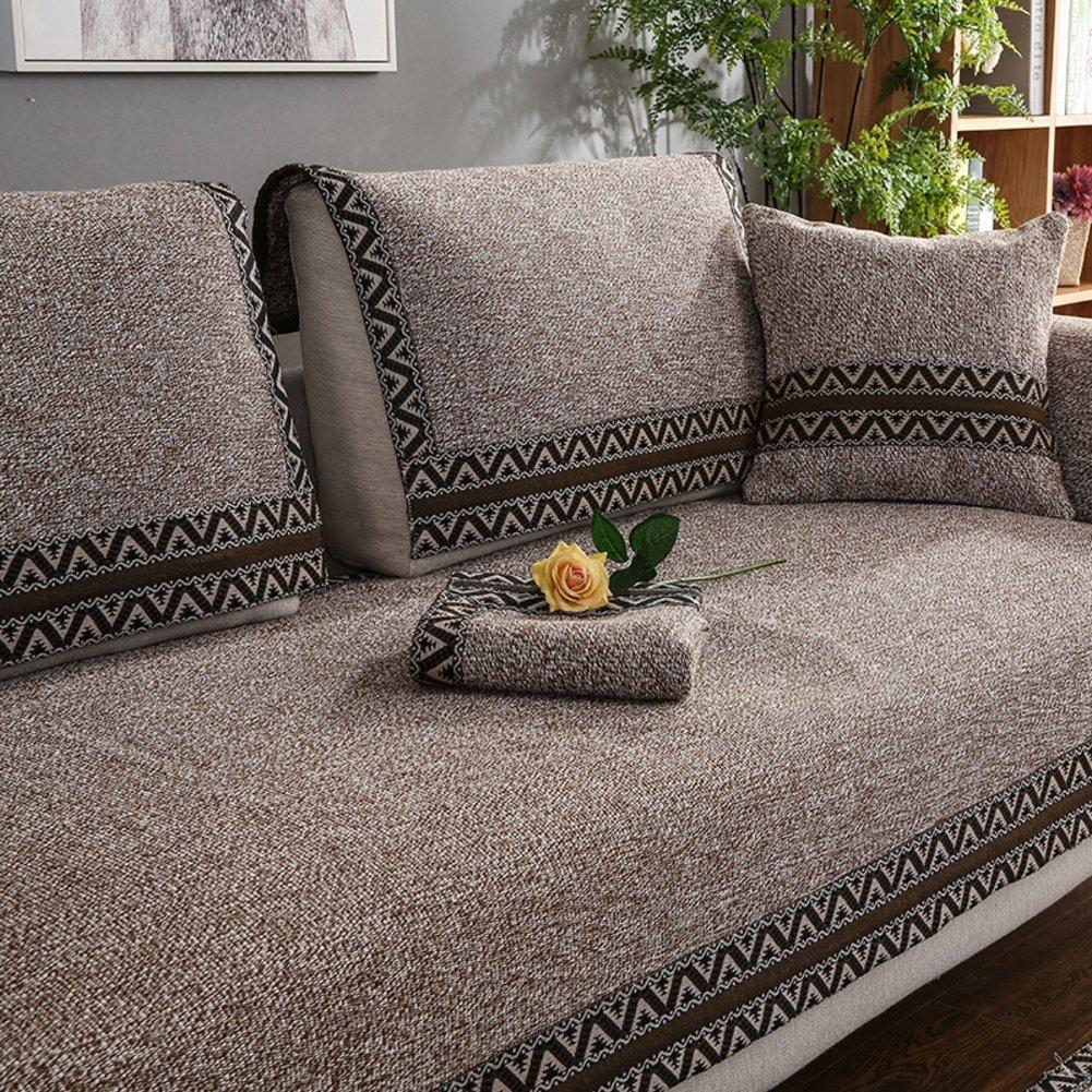 WYSMao Volltonfarbe Sofa Decken,Anti-rutsch,Möbel Protector, Gestrickte Decke Anti-rutsch All-Inclusive-Couch Cover werfen für 1 verdicken,2,3,4 Kissen abdeckungen-Braun 90x160cm(35x63inch)