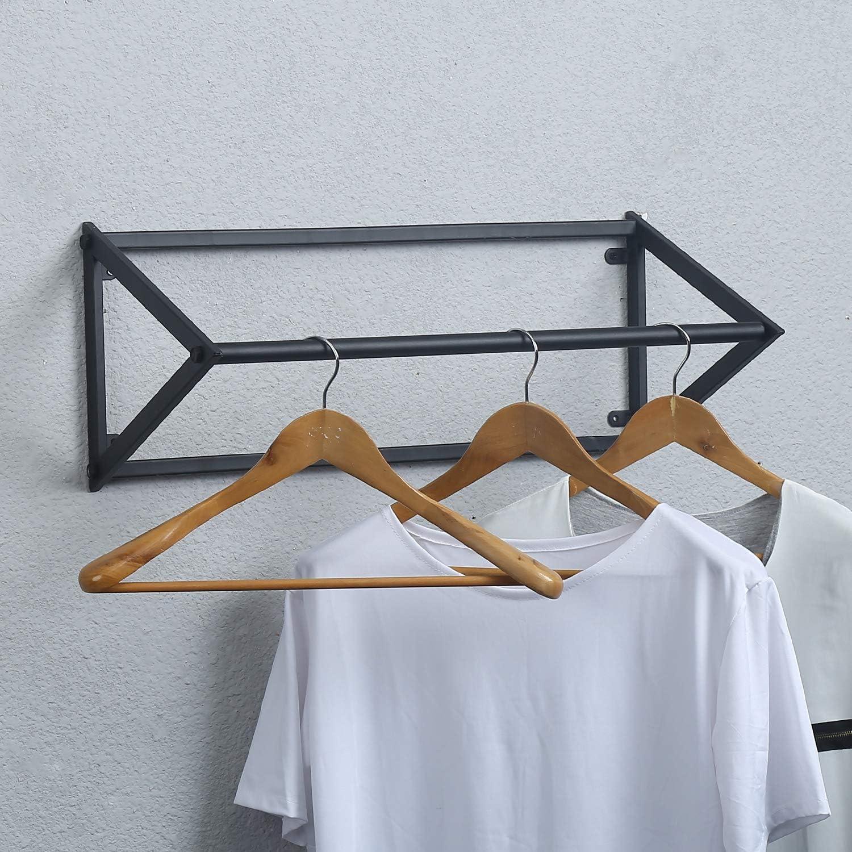 MBQQ Modern Black Metal Clothing Racks Wall Mounted,Bathroom /& Bedroom Hanging Towel Bar//Clothing Rod Rack,Hanging on Bathroom,Bedroom,Balcony,Laundry