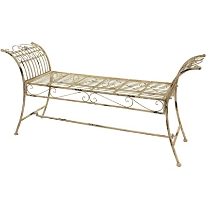 Incroyable Oriental Furniture Rustic Garden Bench   Distressed White