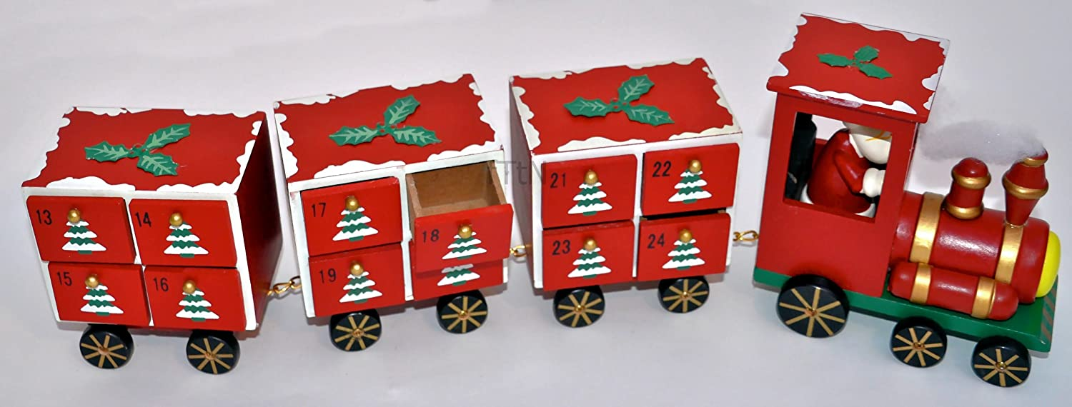 Wooden Red Christmas Advent Calendar Xmas Train Engine 3 Carriages Santa Driver Heaven Sends ZF248