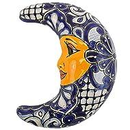 "Talavera Luna Half Moon 12"" Wall Hanging Hand Painted Ceramic Garden Decor (Blue & White)"