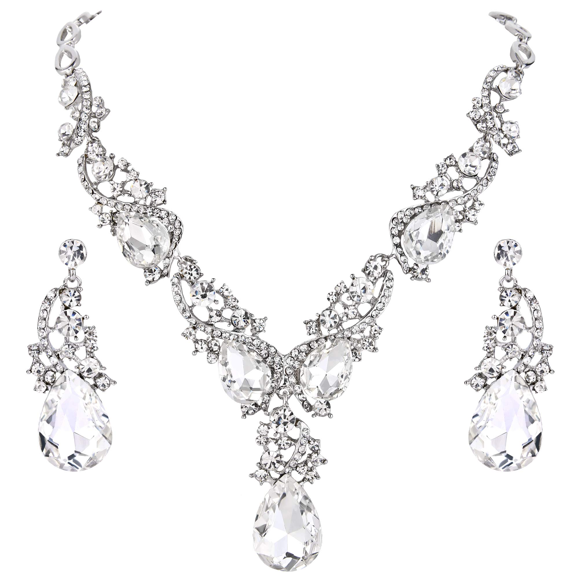 BriLove Women's Wedding Bridal Statement Necklace Dangle Earrings Jewelry Set with Multi Teardrop Cluster Crystal Clear Silver-Tone