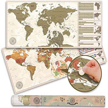 Weltkarte zum Rubbeln XXL - Vintage Rubbel-Weltkarte - Scratch Off World  Map Poster (100 x 45 cm - Made in Germany)