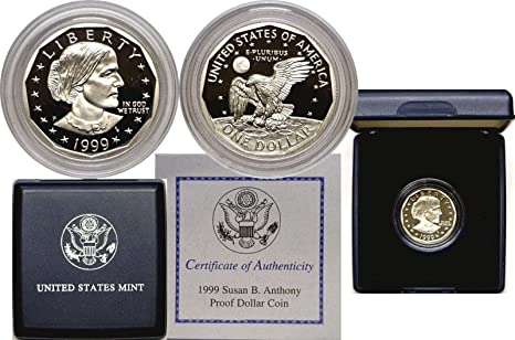 United States Mint 1999 P Susan B Anthony Cameo Proof Coin w// COA /& Mint Box