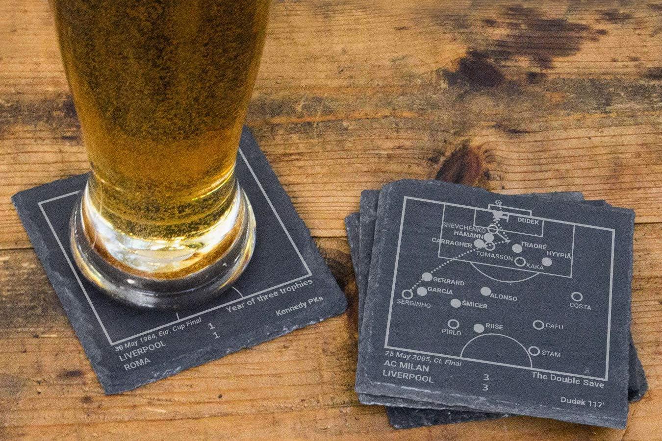 Set of 4 Slate Coasters Greatest Liverpool Plays