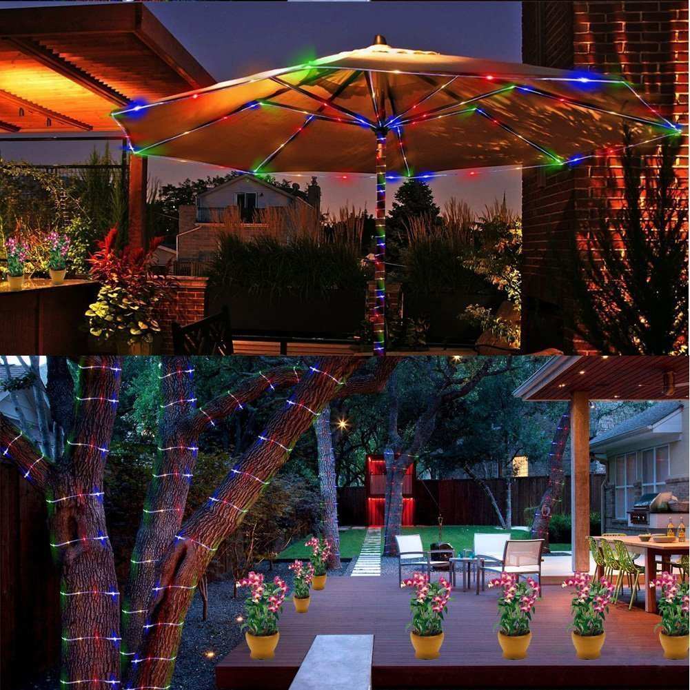 TryLight LED String Lights 8 Modes Remote Control Rope Lights 120 Leds Waterproof Starry Fairy Lights Battery Powered Indoor Outdoor 46ft Lights for Patio, Garden, Balcony and Festival (Multicolor)