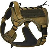 CBBPET Tactical Dog Harness for Large Medium Dogs No Pull, Tactical Dog Vest with Molle & Sturdy Handle, Front Leash Clip, Br