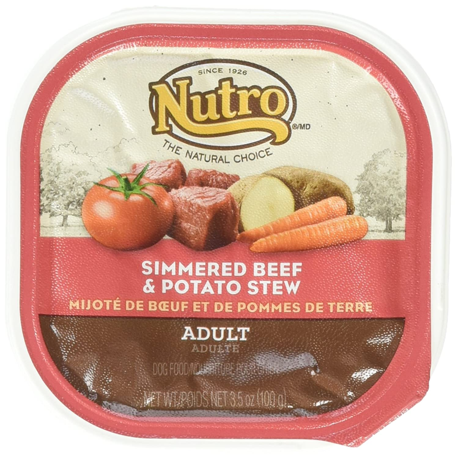 Nutro Wet Dog Food, Simmered Beef and Potato Stew Caned Dog Food, (24) 3.5 Oz Trays