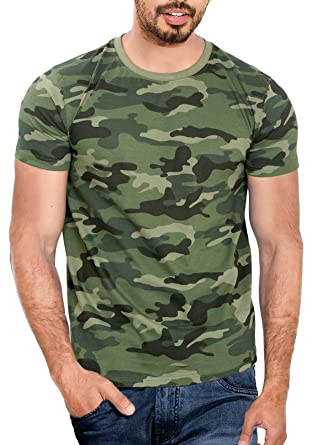 WYO Men's Cotton Camouflage Half Sleeve T-Shirt: Amazon.in ...