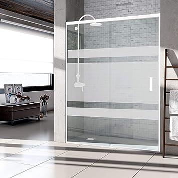 Mampara de ducha con apertura frontal de puerta corredera, perfil BLANCO y cristal serigrafiado con vinilo - 6 mm de grosor. Sin perfil inferior. (96 a 106 cm.): Amazon.es: Bricolaje y herramientas