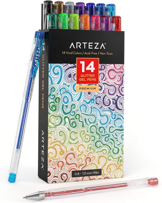 Arteza Bolígrafos de purpurina en tinta de gel | Pack de 14 bolígrafos rotuladores de colores brillantes | Tintas de gel de colores vivos | para pintar mandalas: Amazon.es: Oficina y papelería