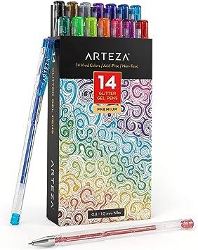 Arteza Bolígrafos de purpurina en tinta de gel   Pack de 14 bolígrafos rotuladores de colores brillantes   Tintas de gel de colores vivos   para pintar mandalas: Amazon.es: Oficina y papelería