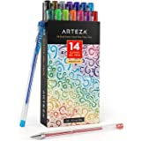 Arteza Glitter Gel Pens 14-Individual-Colors - Triangular Grip - (0.8-1.0 mm Tips, Set of 14)
